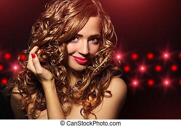 gyönyörű, haj, leány, göndör, portré