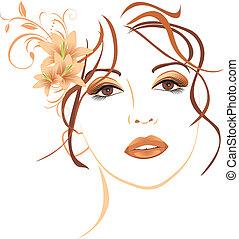 gyönyörű, haj, liliomok, nő