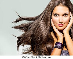 gyönyörű, haj, nő, fújás, hosszú