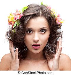 gyönyörű, haj, nő, fiatal, virág