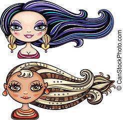 gyönyörű, haj, styl, lány, friss