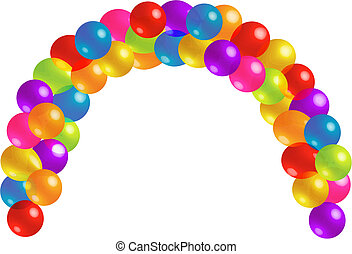 gyönyörű, halmok, balloon, körív, transzparens