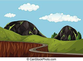 gyönyörű, hegy út