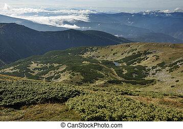 gyönyörű, hegy, carpathian, táj, hegyek
