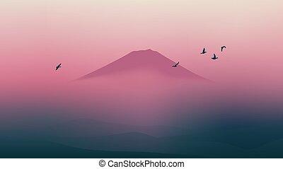 gyönyörű, hegy, színpadi, ég, fuji, japán, félhomály
