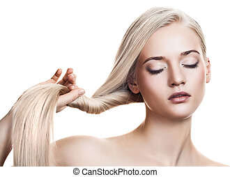 gyönyörű, hely, egészséges, szöveg, hosszú, girl., hair., szőke