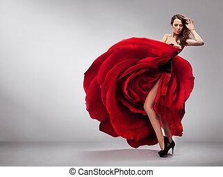 gyönyörű, hord ruha, fiatal, rózsa, hölgy, piros