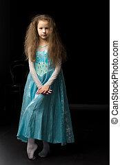 gyönyörű, hord ruha, leány, farsang, hercegnő, kék