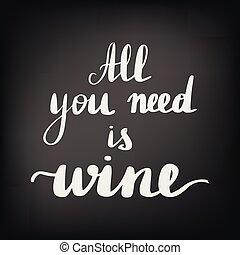 gyönyörű, idézőjelek, körülbelül, bor.