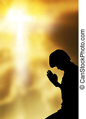 gyönyörű, imádkozás, ég, háttér, ember