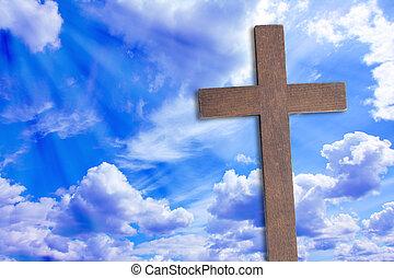 gyönyörű, jézus, elhomályosul, krisztus, kereszt
