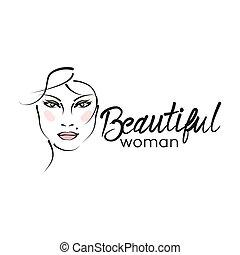 gyönyörű, jel, modern, nő