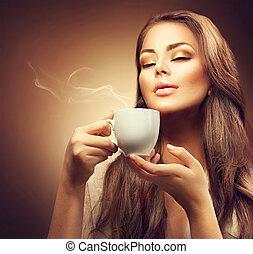 gyönyörű, kávécserje, nő, fiatal, csípős, élvez