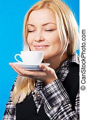 gyönyörű, kávécserje, nő, fiatal, szaglás