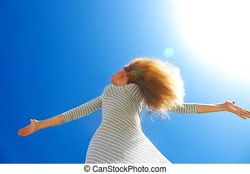 gyönyörű, kék, női, felett, ég, kitakarít