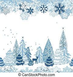 gyönyörű, kék, tél, motívum, seamless, erdő