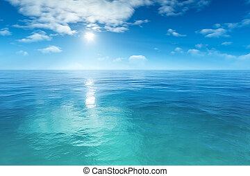 gyönyörű, kék, tenger, háttér