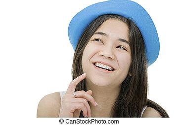 gyönyörű, kék, vagy, thought., kifejezés, feláll, elszigetelt, ő, gondolat, young külső, figyelmes, tízenéves kor, móka, leány, kap, white kalap, ha