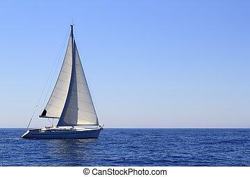 gyönyörű, kék, vitorlázás, vitorlás hajó, tengertől távol eső, vitorlázik