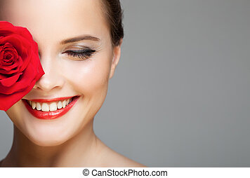 gyönyörű, közelkép, nő, csinál, rose., portré, mosolygós, piros