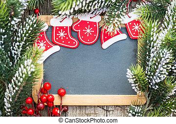 gyönyörű, karácsony, elágazik, tél, hely, tábla, concept., fa, keretezett, szöveg, decorations., ünnepek, tiszta, másol, -e