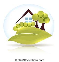 gyönyörű, kert, épület, bitófák, zöld, őt lap, ikon, tervezés, parázslás