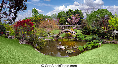 gyönyörű, kert, californ, könyvtár, huntington, botanikai