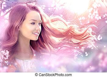gyönyörű, kert, eredet, varázslatos, képzelet, leány