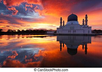 gyönyörű, kinabalu, kota, mecset, város
