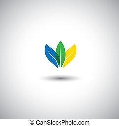gyönyörű, lótusz, graphic., sárga, befest, virág, levél növényen, ikonok, -, is, megőrzés, kék, színes, ábra, szirom, előad, őt előad, elrendez, ez, &, együtt, vektor, zöld