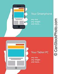 gyönyörű, lakás, smartphone, tabletta, tervezés, ikon