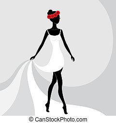 gyönyörű, leány, ruha, fehér