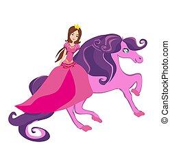 gyönyörű, lovaglás, ló, hercegnő, tündérmese