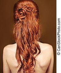 gyönyörű, mód, nő, göndör, hosszú szőr, piros