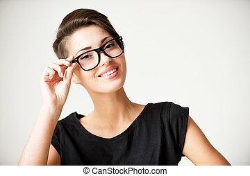 gyönyörű, mód, rövid, neki, beauty., szabályozó, fiatal, haj, beijedt, woman mosolyog, szemüveg