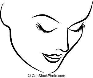 gyönyörű, mód, woman's, arc