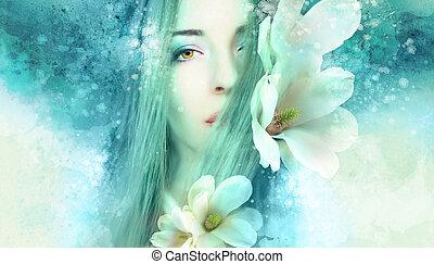 gyönyörű, magnólia, nő, artwo
