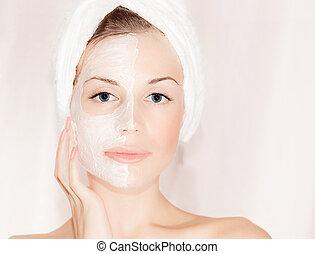 gyönyörű, maszk, arcápolás, arc