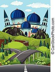 gyönyörű, mecset, út