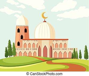 gyönyörű, mecset, táj