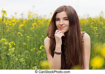gyönyörű, megfog, nő, fiatal