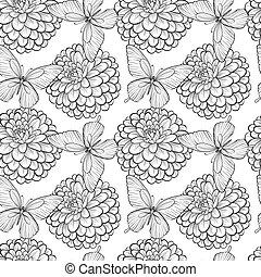 gyönyörű, megvonalaz, strokes., dahlias., seamless, pillangók, black háttér, monochrom, fehér, körvonal, hand-drawn