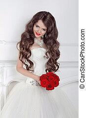 gyönyörű, menyasszony, int, modern, csokor, agancsrózsák, feltevő, leány, piros