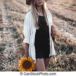 gyönyörű, mező, kisasszony, nyár