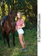 gyönyörű, mező, ló, nő