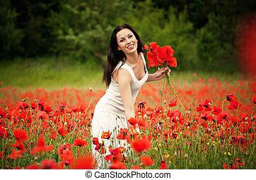 gyönyörű, mező, menstruáció, nő