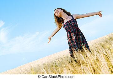 gyönyörű, mező, nő, ruha, tarka