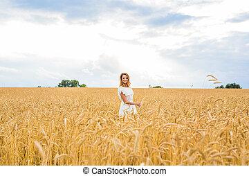 gyönyörű, mező, nő