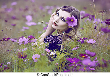gyönyörű, mező, nő, virág