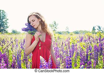 gyönyörű, mező, woman portré